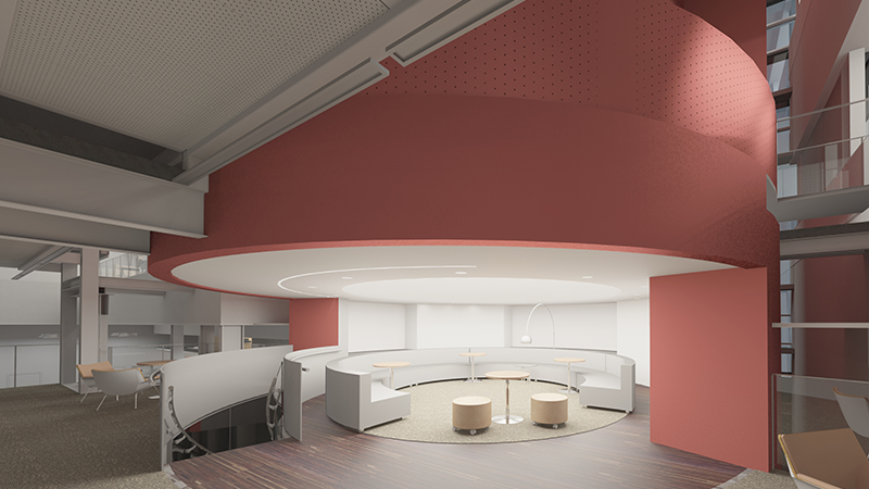 office block showing mezzanine lounge with coral pinks