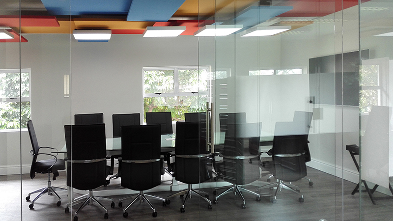 architectural project showing boardroom with acoustics on ceiling