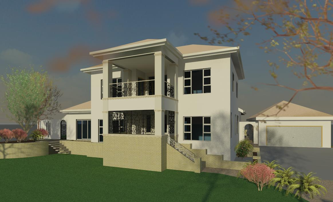 architectural 3D rendering of a house showing side view and garage