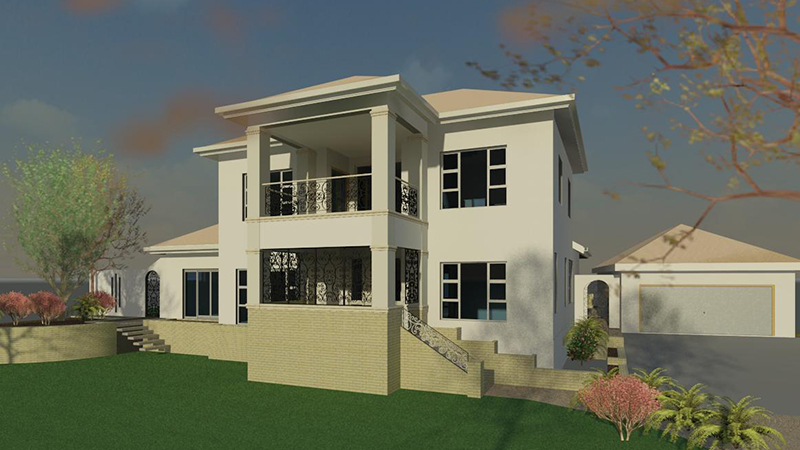 architectural 3D rendering of side of house and garage