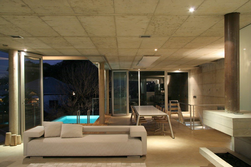 architectural design showing living area with pool