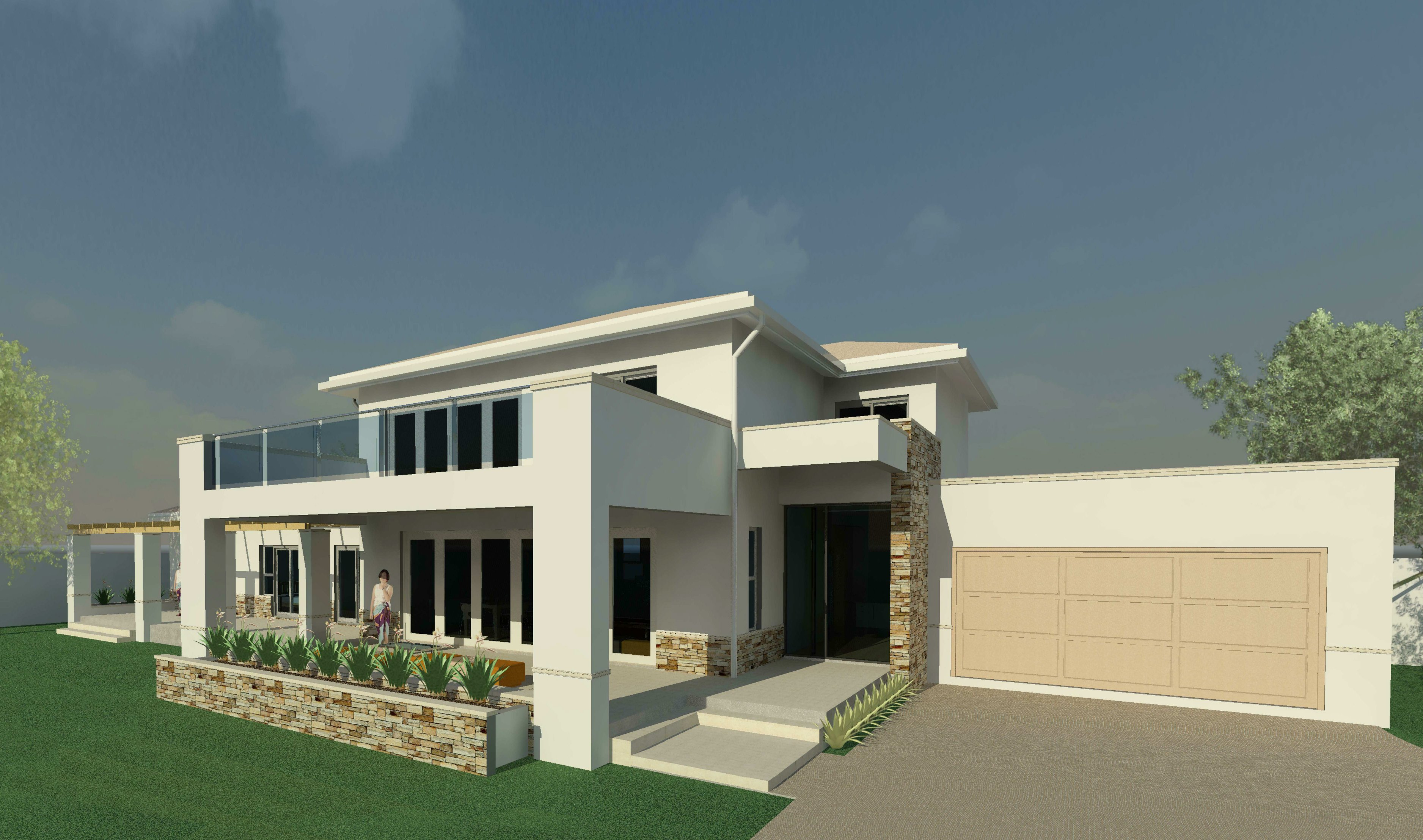 architectural 3D rendering showing front of house and garage