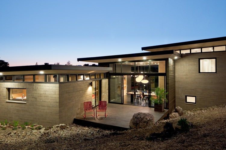 A home in Napa, California, constructed from rammed earth